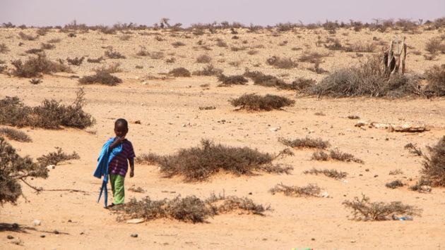 Kuivuudesta kärsivä Somalimaa ja pieni lapsi