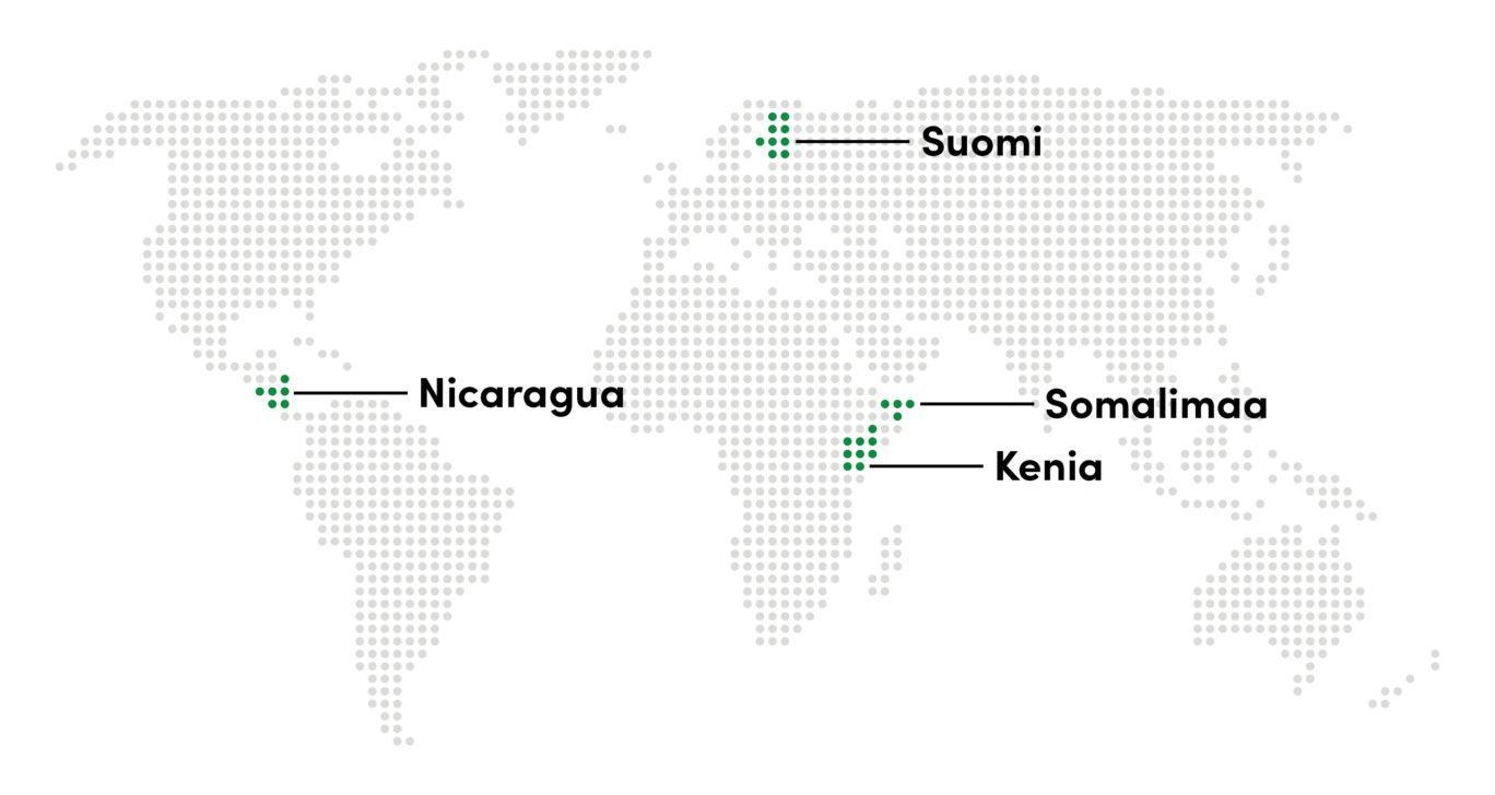 Maailmankartta, jossa korostettu seuraavat maat: Nicaragua, Suomi, Kenia, Somalimaa